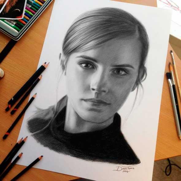 карандашные рисунки Дино Томича pencil drawings Dino Tomic Эмма Уотсон