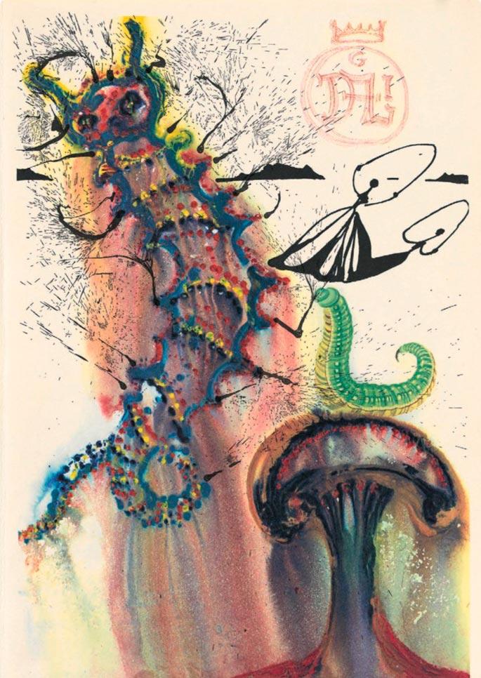 иллюстрации Сальвадора Дали к Алисе в Стране чудес illustrations by Salvador Dali for Alice in Wonderland совет гусеницы tip caterpillar