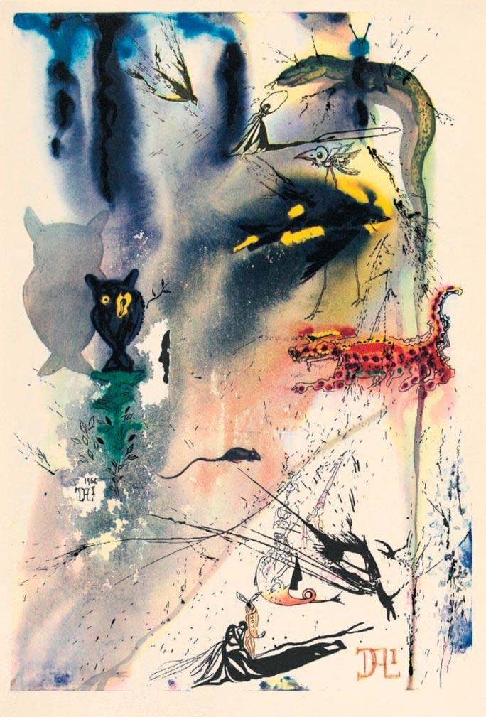 иллюстрации Сальвадора Дали к Алисе в Стране чудес illustrations by Salvador Dali for Alice in Wonderland Билль вылетает в трубу Bill goes into the pipe