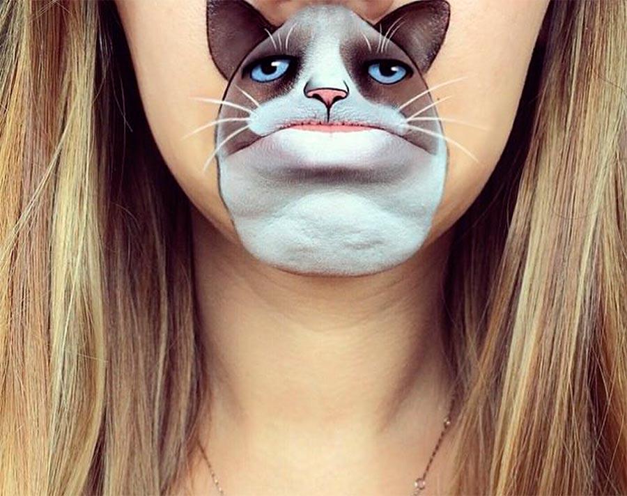 бодиарт губ Сердитый кот