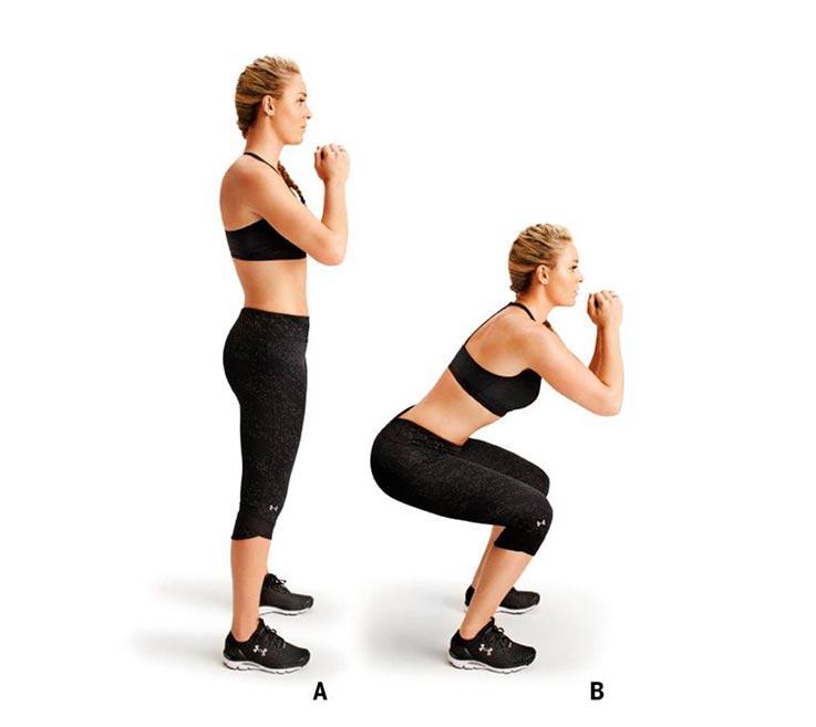 упражнения для ног и ягодиц Приседания