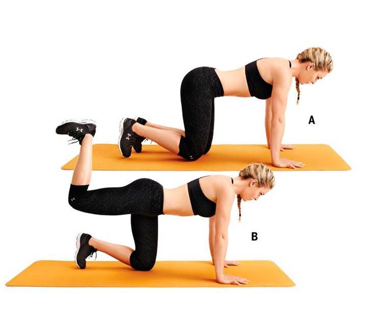 упражнения для ног и ягодиц Махи ногой