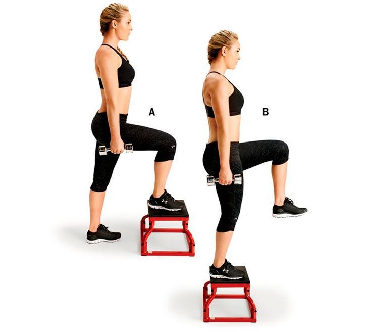 упражнения для ног и ягодиц Вышагивание на платформу