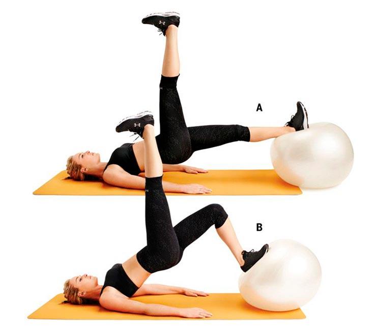 упражнения для ног и ягодиц Мостик с фитболом
