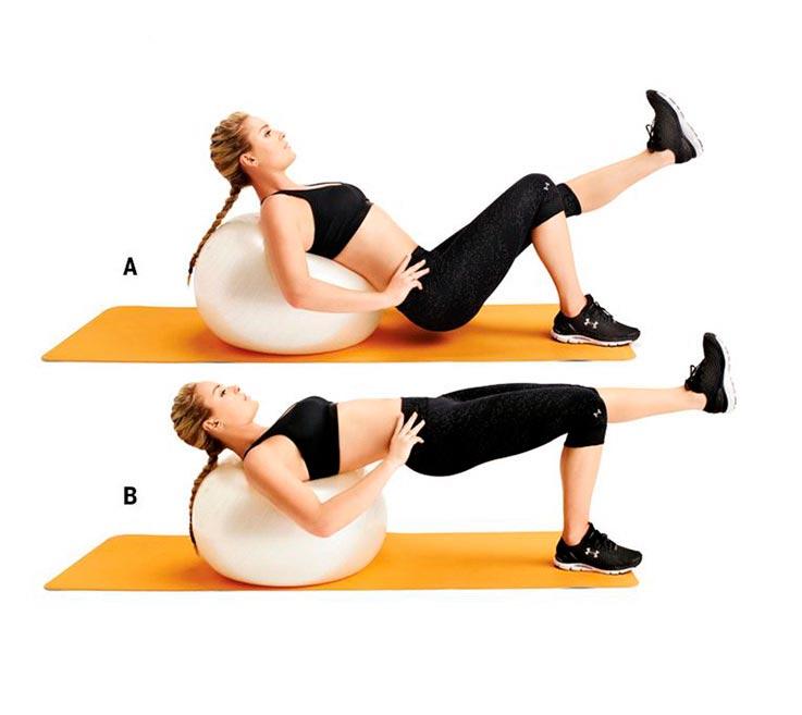 упражнения для ног и ягодиц Подъем таза на фитболе