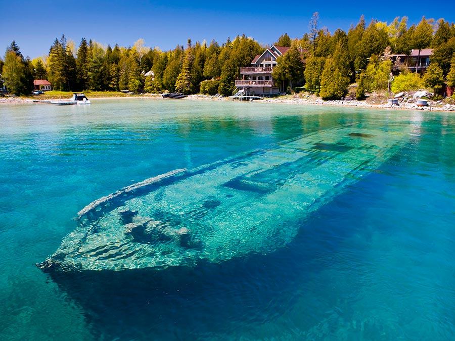интересные подводные достопримечательности мира Затонувшая шхуна Sweepstakes озеро Гурон Канада