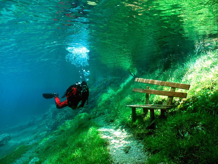 интересные подводные достопримечательности мира Зеленое озеро Австрия