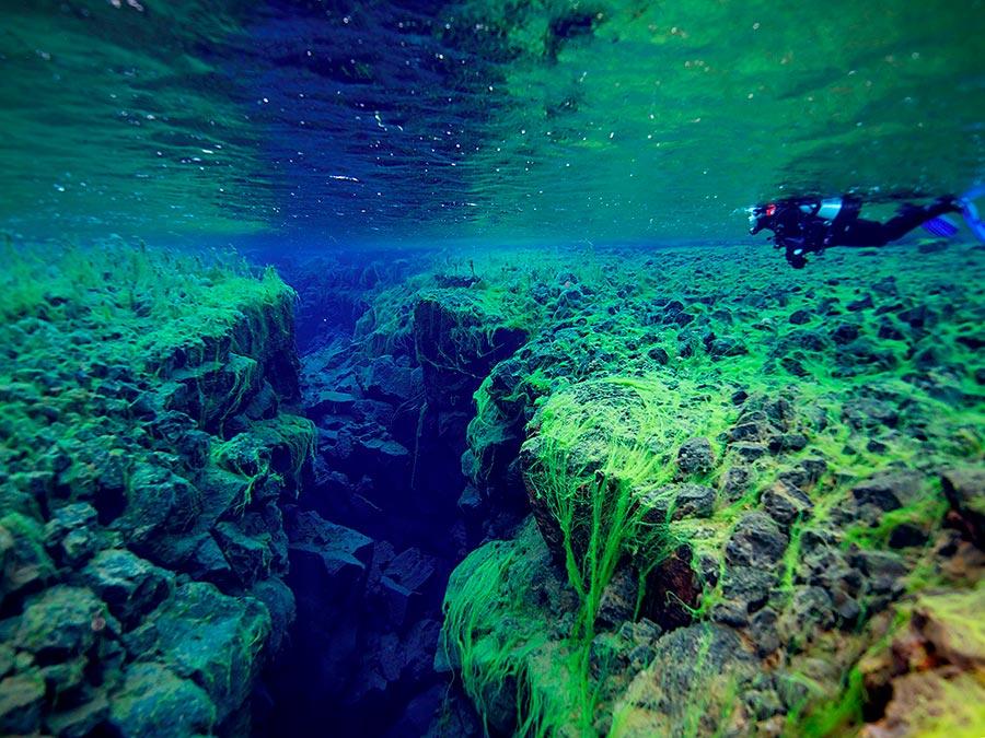 интересные подводные достопримечательности мира Подводное ущелье Сифра Исландия