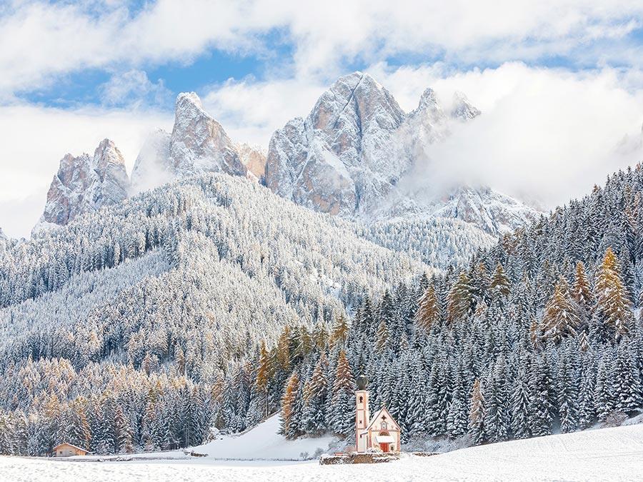 зимние фотографии Доломитовые Альпы Южный Тироль Италия Italy