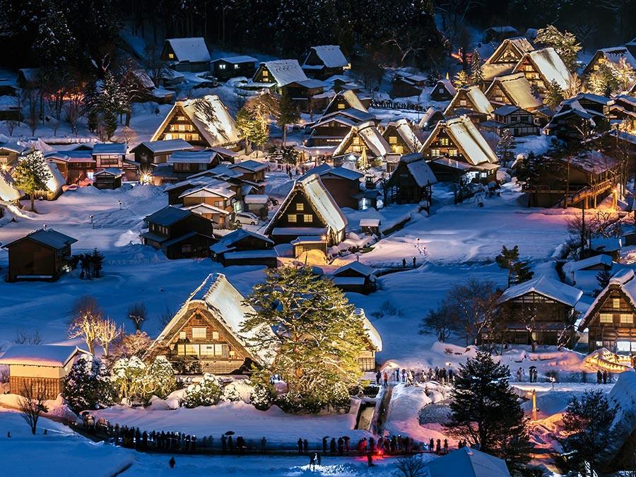 зимние фотографии Сиракава-го Япония Japan