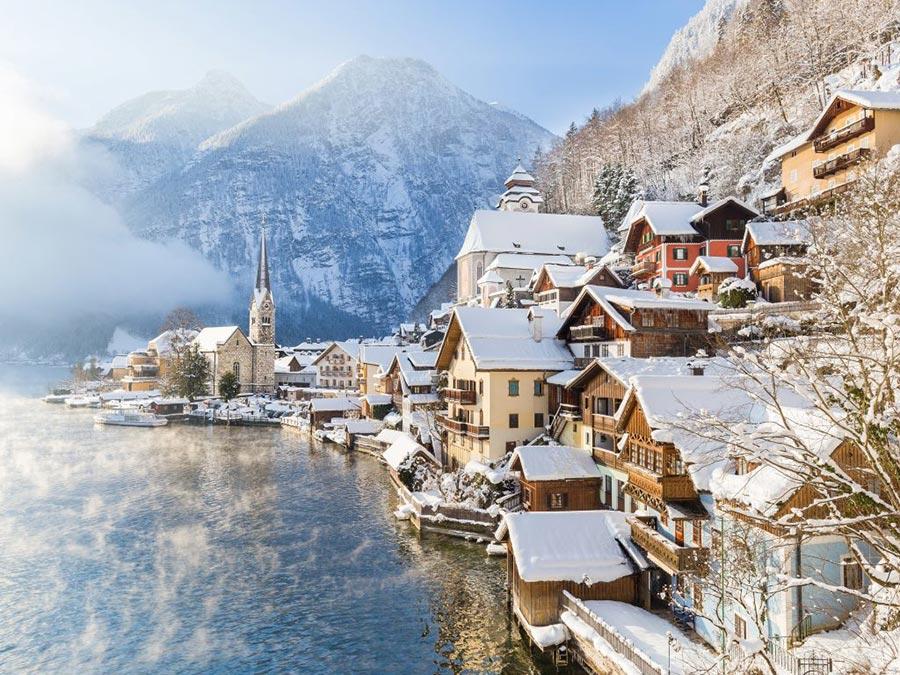 зимние фотографии Халльштатт Австрия
