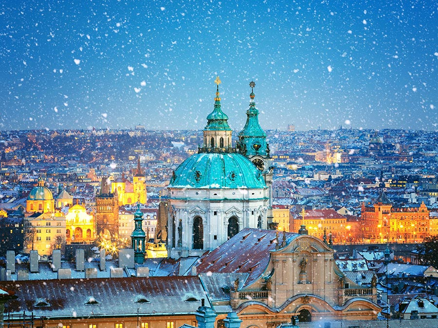 зимние фотографии Собор Святого Николая Прага Чехия Czech Republic