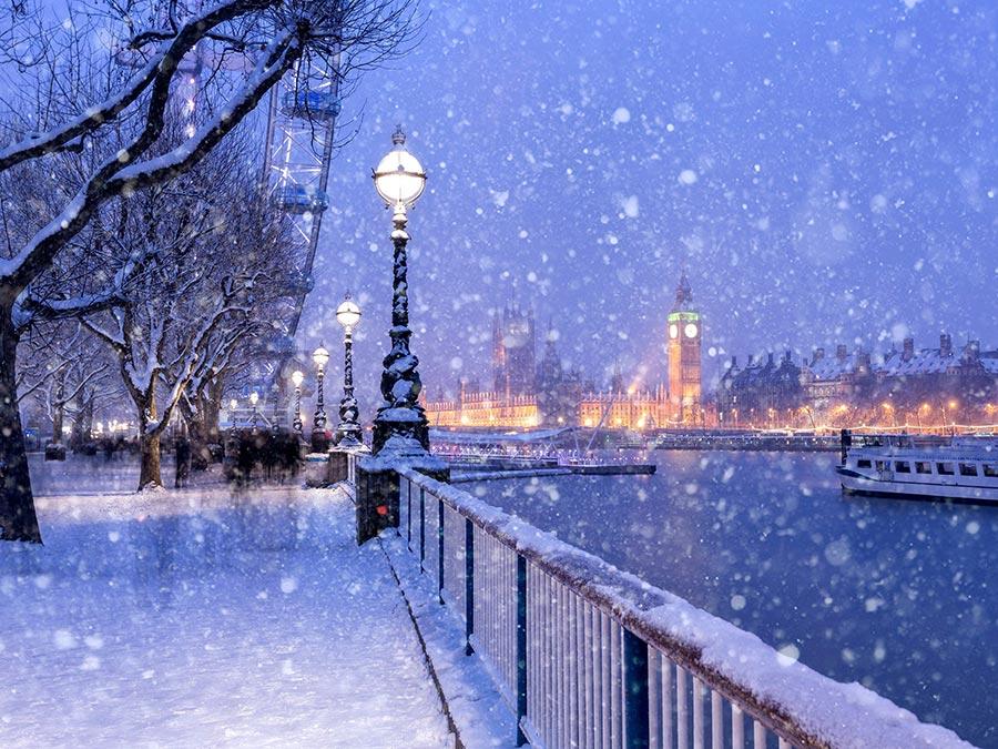 зимние фотографии Набережная Риверсайд Лондон London
