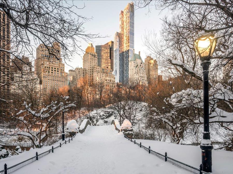 зимние фотографии Центральный парк Нью-Йорка США USA