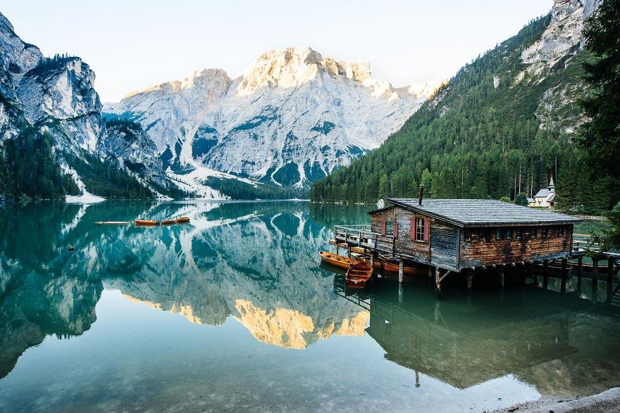 Йохан Лолос пейзажи Европы Озеро Брайес Южный Тироль Италия