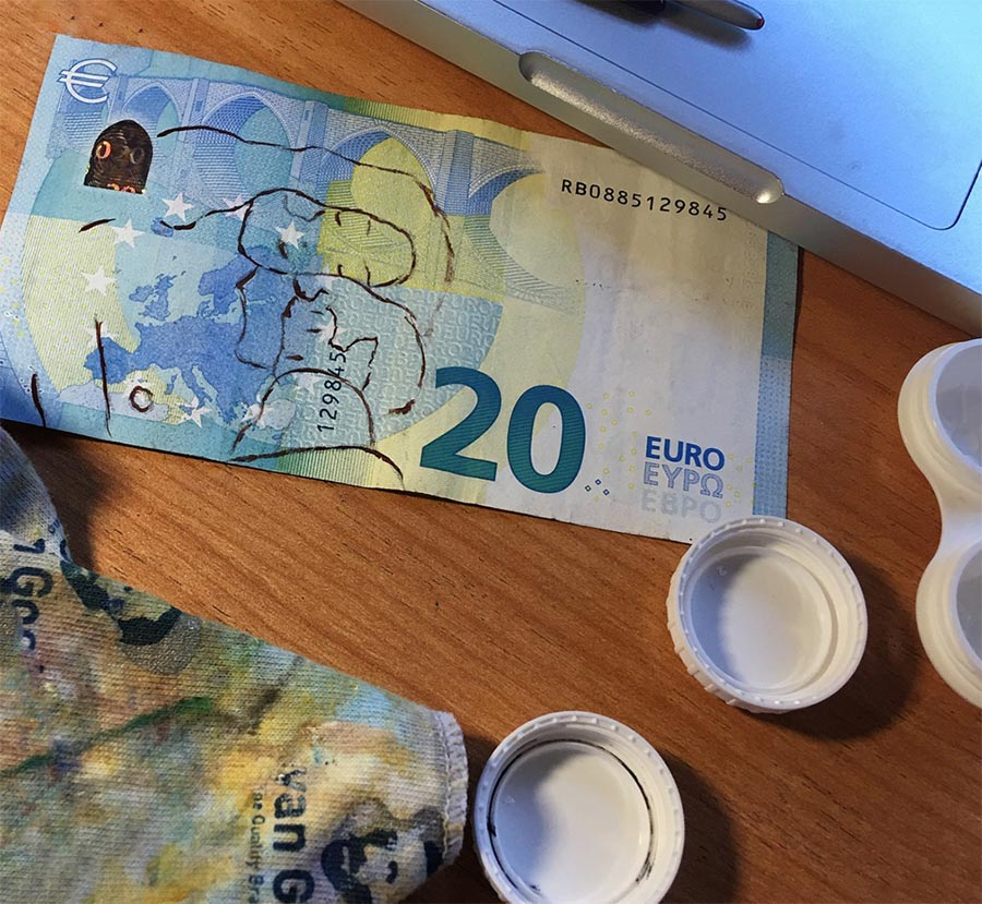 Mari Roldan Мари Рольдан картины на банкнотах евро