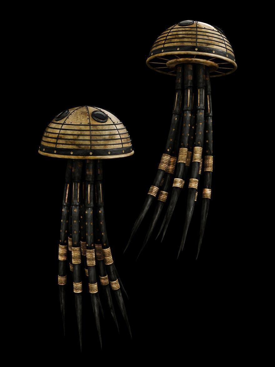 Кервин Акуна Kervin Acuña Черные и золотые персонажи животных медуза