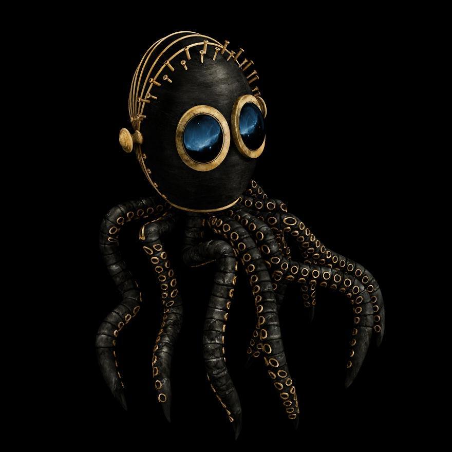 Кервин Акуна Kervin Acuña Черные и золотые персонажи животных осьминог