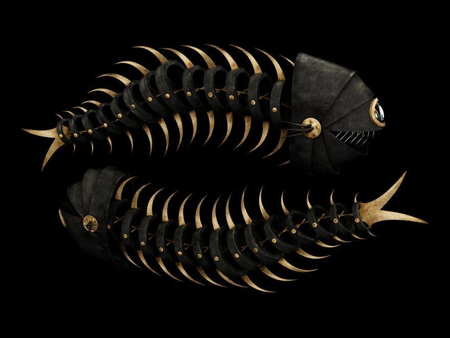 Кервин Акуна Kervin Acuña Черные и золотые персонажи животных рыбы