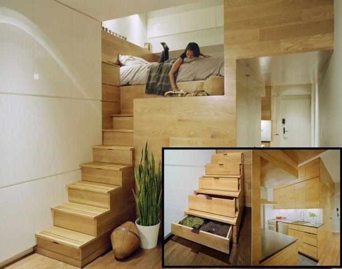 Дизайнерские тонкости увеличить пространство квартиры лестничная конструкция