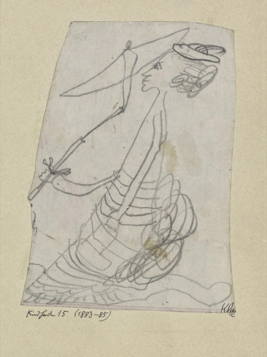 картины знаменитых художников Пауль Клее, детский рисунок дамы с зонтиком