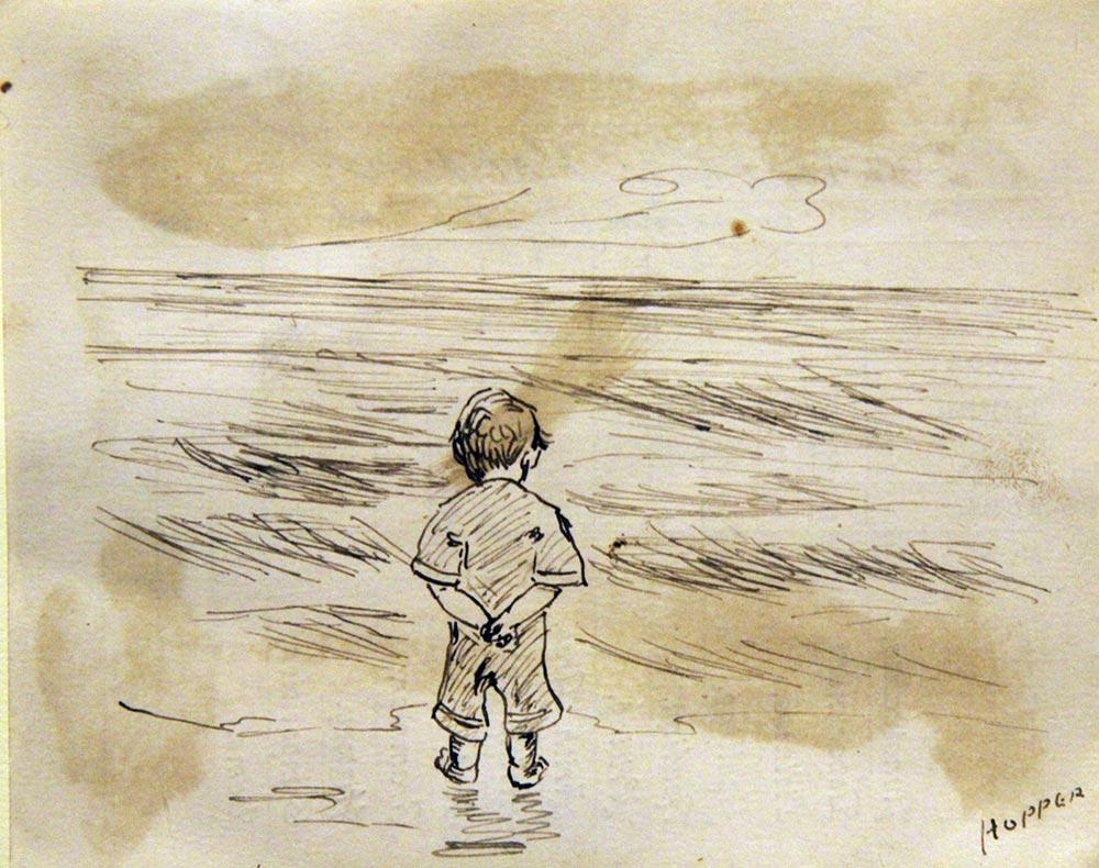 картины знаменитых художников Эдвард Хоппер, эскиз мальчика, смотрящего на море