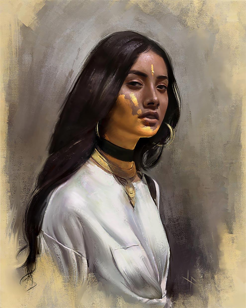 Justine Florentino Жюстин Флорентино женские портреты в иллюстрациях