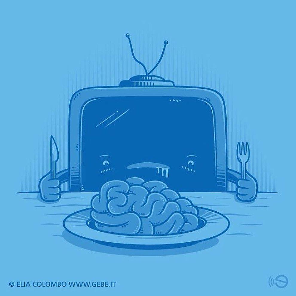 Elia Colombo Элия Коломбо сатирические иллюстрации пороки современности поедатель мозгов