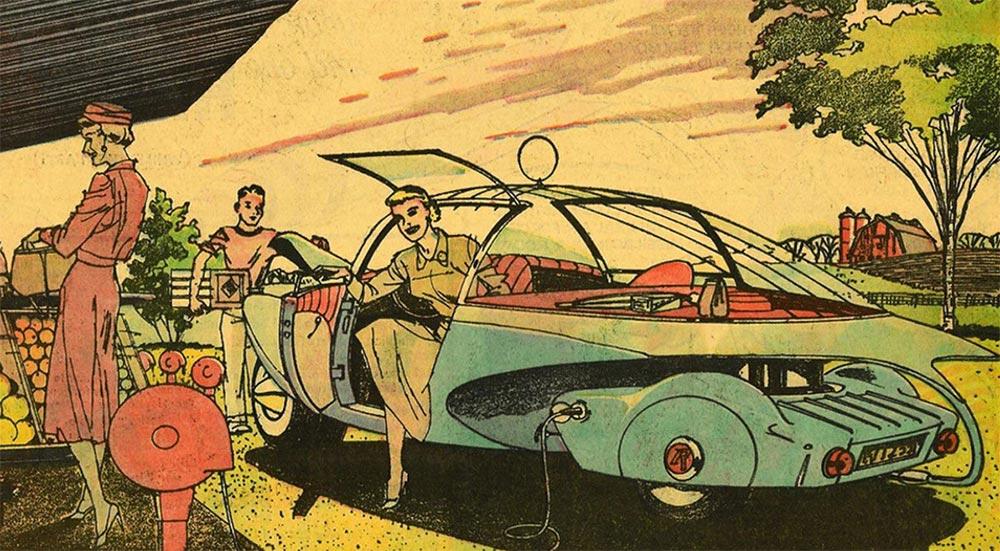Артур Радебо Arthur Radebaugh Будущее в фантастических иллюстрациях Электромобиль