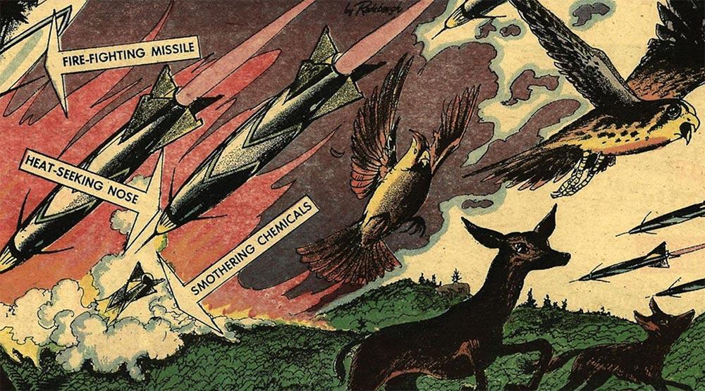 Артур Радебо Arthur Radebaugh Будущее в фантастических иллюстрациях Противопожарные ракеты