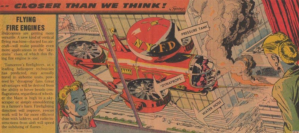 Артур Радебо Arthur Radebaugh Будущее в фантастических иллюстрациях Летающие пожарные машины