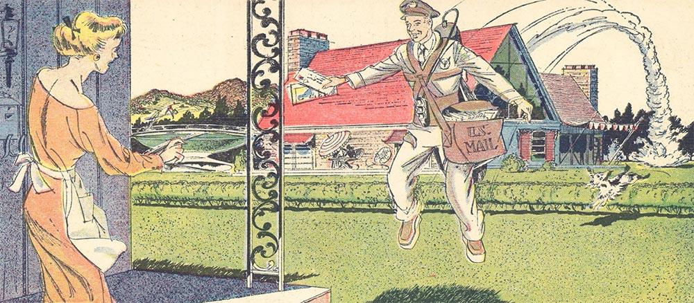 Артур Радебо Arthur Radebaugh Будущее в фантастических иллюстрациях Почтальон с реактивным ранцем