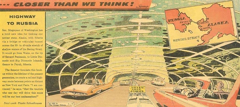 Артур Радебо Arthur Radebaugh Будущее в фантастических иллюстрациях Подводное шоссе, соединяющее Россию и США