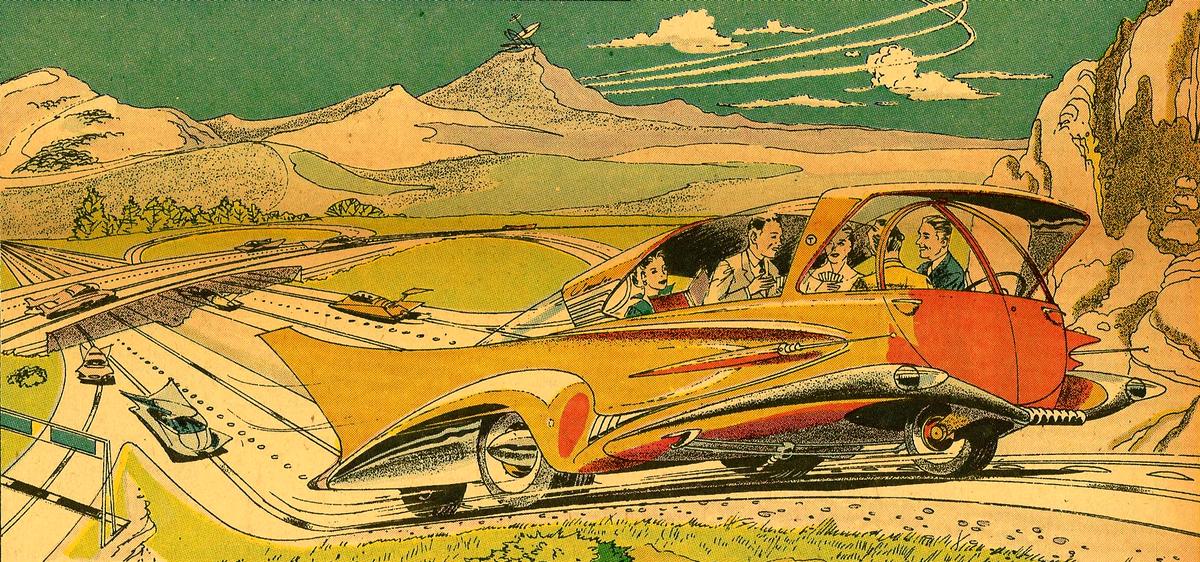 Артур Радебо Arthur Radebaugh Будущее в фантастических иллюстрациях Автомобиль без водителя