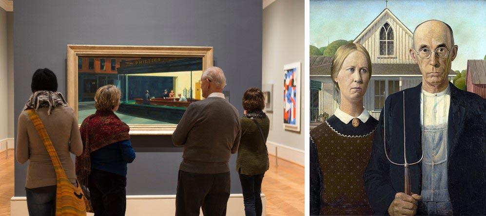 известные произведения искусства «Полуночники» Эдвард Хоппер и «Американская готика» Грант Вуд: Чикагский институт искусств, Чикаго